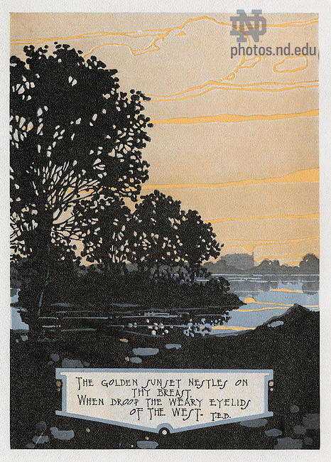 """Dome yearbook 1916, page 16:  Drawing of St. Mary's Lake at sunset.  Caption:  """"The golden sunset nestles on thy breast, when droop the weary eyelids of the west. T.E.B.""""  Drawing by Joseph Patrick Flynn.  Poem by Rev. Thomas E. Burke, CSC.  Image from the University of Notre Dame Archives."""