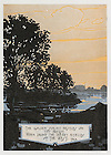 "Dome yearbook 1916, page 16:  Drawing of St. Mary's Lake at sunset.  Caption:  ""The golden sunset nestles on thy breast, when droop the weary eyelids of the west. T.E.B.""  Drawing by Joseph Patrick Flynn.  Poem by Rev. Thomas E. Burke, CSC.  Image from the University of Notre Dame Archives."
