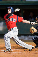 Cody Kulp #7 of the Shippensburg Red Raiders follows through on his swing versus the Catawba Indians on February 14, 2010 in Salisbury, North Carolina.  Photo by Brian Westerholt / Four Seam Images