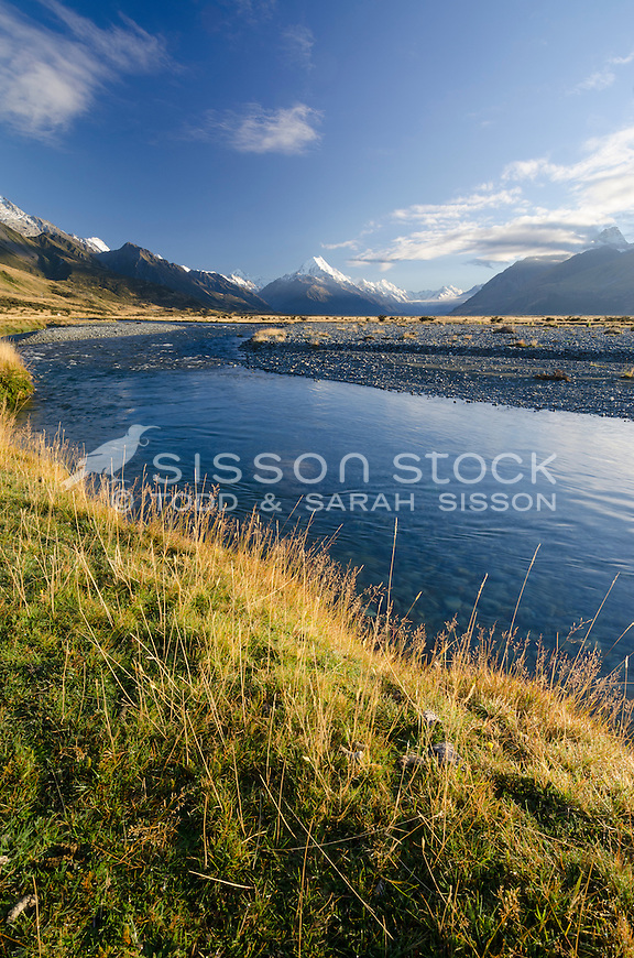 Early morning light Aoraki / Mt Cook and the Tasman River, Mckenzie Country, Canterbury, New Zealand