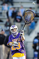 Baltimore, MD - April 5: Goalkeeper Max Huber # 23 of the Albany Great Dane's during the Albany v Johns Hopkins mens lacrosse game at  Homewood Field on April 5, 2012 in Baltimore, MD. (Ryan Lasek/Eclipse Sportwire)