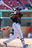 Bakersfield Blaze shortstop Didi Gregorius #21 bats against the High Desert Mavericks at Mavericks Stadium on July 17, 2011 in Adelanto,California. Bakersfield defeated High Desert 11-10.(Larry Goren/Four Seam Images)