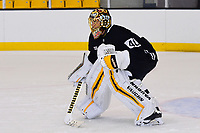 September 15, 2017: Boston Bruins goalie Tuukka Rask (40) plays outside the paint during the Boston Bruins training camp held at Warrior Ice Arena in Brighton, Massachusetts. Eric Canha/CSM