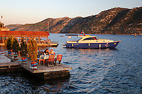 Turkey, Province Antalya, Kalekoy (Simena), near Kas: Harbourside restaurant and island Kekova | Tuerkei, Provinz Antalya, Kalekoey (Simena), bei Kas: Restaurant am Wasser mit Blick zur Insel Kekova