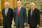 12.07.2012. King Juan Carlos I of Spain attend  a audience to Mr. Jose Manuel Garcia-Margallo Marfil, Minister of Foreign Affairs and Cooperation, and Mr. Carlos Espinosa de los Monteros, High Commissioner of the Government for The Mark Spain, at the Royal Palace of La Zarzuela. In the image Jose Manuel Garcia-Margallo Marfil, King Juan Carlos and Carlos Espinosa de los Monteros  (Alterphotos/Marta Gonzalez)