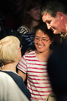 Patty Murray talks with a supporter during the Senator's election rally at Neumos, Seattle, WA on Monday, Nov. 1, 2010.
