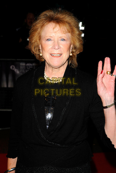 """JUDY PARFITT .""""Dean Spanley"""" European Premiere during The Times BFF London Film Festival, Odeon Leicester Square, London, England, UK, .October 17th 2008..red carpet half length black dress hand waving jacket pearl necklace earrings .CAP/CAN.©Can Nguyen/Capital Pictures"""
