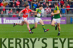 David Moran Kerry in action against Fintan Goold Cork in the National Football League at Pairc Ui Rinn, Cork on Sunday.