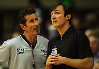 Umpire Andy Thackray talks to Saints coach Doug Marty during the NBL Round 14 basketball match between the Wellington Saints and Auckland Stars at TSB Bank Arena, Wellington, New Zealand on Thursday 29 May 2008. Photo: Dave Lintott / lintottphoto.co.nz