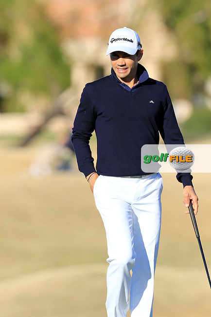 Camilo Villegas (COL) on 16th green during Saturday's Round 3 of the 2017 CareerBuilder Challenge held at PGA West, La Quinta, Palm Springs, California, USA.<br /> 21st January 2017.<br /> Picture: Eoin Clarke | Golffile<br /> <br /> <br /> All photos usage must carry mandatory copyright credit (&copy; Golffile | Eoin Clarke)