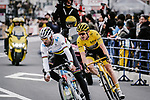 World Champion Alejandro Valverde (ESP) Movistar Team leads Tour de France Champion Geraint Thomas (WAL) Team Sky during the 2018 Saitama Criterium, Japan. 4th November 2018.<br /> Picture: ASO/Pauline Ballet | Cyclefile<br /> <br /> <br /> All photos usage must carry mandatory copyright credit (&copy; Cyclefile | ASO/Pauline Ballet)