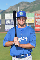 Joseph Meggs (23) of the Ogden Raptors poses for a photo during media day on June 14, 2014 at Lindquist Field in Ogden, Utah. (Stephen Smith/Four Seam Images)