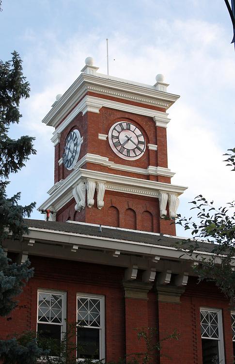The Bryan Hall clock tower on the campus of Washington State University in Pullman, Washington.