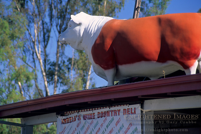 Cow (Fake) atop Angelo's Deli, Sonoma Valley, Sonoma County, California