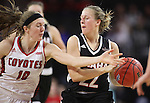 SIOUX FALLS, SD: MARCH 5: Allison Arens #10 of South Dakota reaches on Mikaela Shaw #22 of Omaha during the Summit League Basketball Championship on March 5, 2017 at the Denny Sanford Premier Center in Sioux Falls, SD. (Photo by Dick Carlson/Inertia)