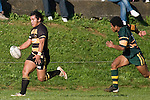 "Spoon Marsters looks to chip ahead after breaking past Mike Tokalau. CMRFU Counties Power ""Game of the Week' between Bombay & Pukekohe played at Bombay on Saturday 17th May 2008..Pukekohe led 15 - 0 at halftime & went on to win 42 - 5."