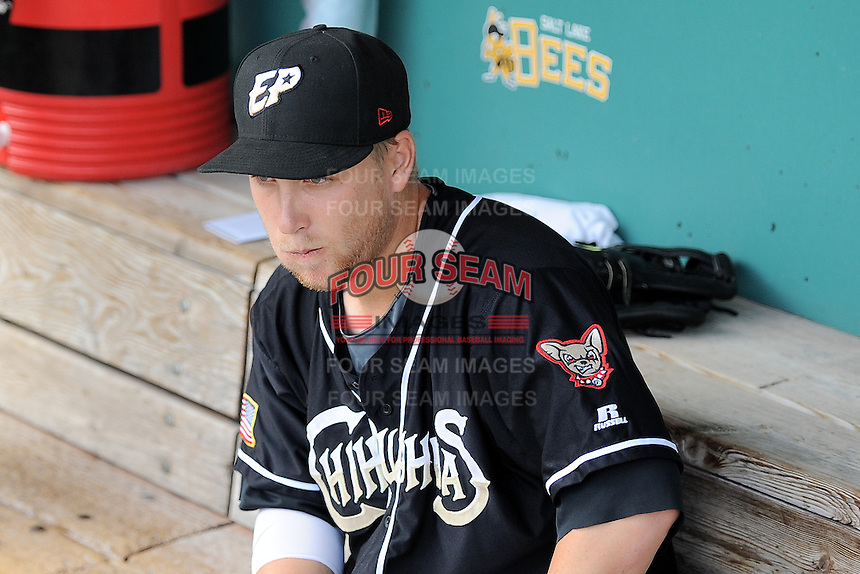 Taylor Lindsey (10) of the El Paso Chihuahuas  before the game against the Salt Lake Bees in Pacific Coast League action at Smith's Ballpark on August 7, 2014 in Salt Lake City, Utah.  (Stephen Smith/Four Seam Images)