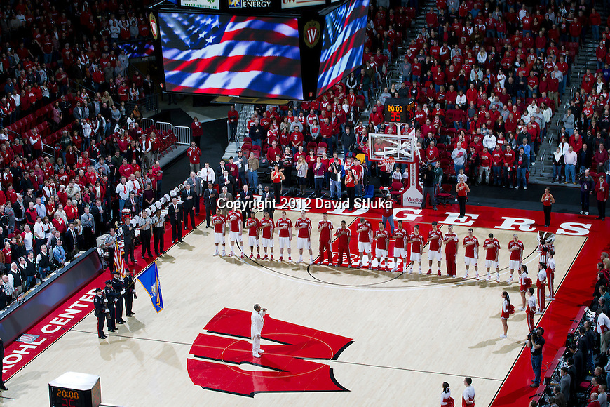 An overhead view of the Kohl Center during the National Anthem prior to the Wisconsin Badgers Big Ten Conference NCAA college basketball game against the Northwestern Wildcats on January 18, 2012 in Madison, Wisconsin. The Badgers won 77-57. (Photo by David Stluka)