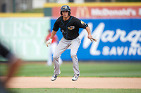 Akron RubberDucks second baseman Tyler Krieger (15) leads off second base during a game against the Erie SeaWolves on August 27, 2017 at UPMC Park in Erie, Pennsylvania.  Akron defeated Erie 6-4.  (Mike Janes/Four Seam Images)