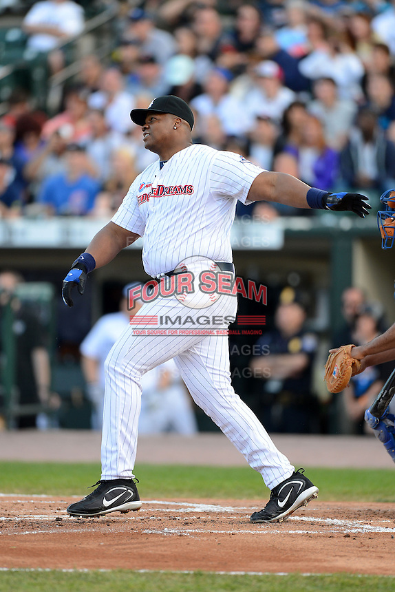 Former Chicago White Sox first baseman Frank Thomas #35 at bat during the MLB Pepsi Max Field of Dreams game on May 18, 2013 at Frontier Field in Rochester, New York.  (Mike Janes/Four Seam Images)