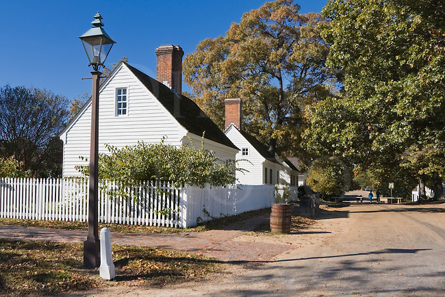 A street and corner with streetlight in a very old American village, Colonial Williamsburg, Virginia.