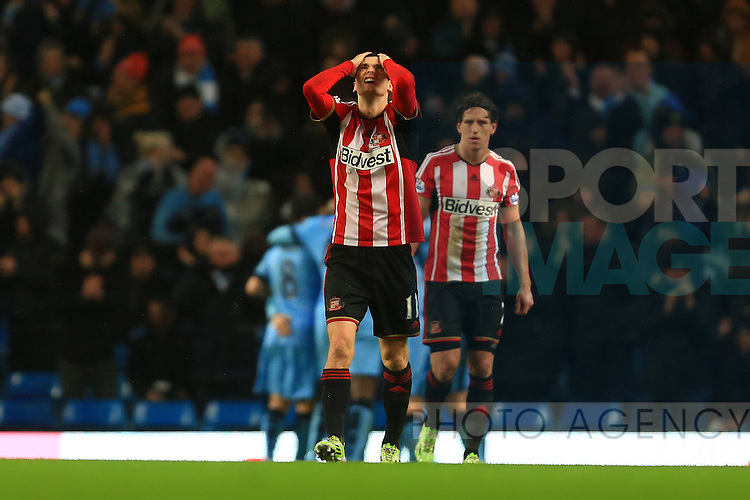 Adam Johnson of Sunderland looks dejected following Frank Lampard of Manchester City goal - Manchester City vs. Sunderland - Barclay's Premier League - Etihad Stadium - Manchester - 28/12/2014 Pic Philip Oldham/Sportimage