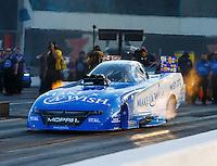 Sep 16, 2016; Concord, NC, USA; NHRA funny car driver Tommy Johnson Jr during qualifying for the Carolina Nationals at zMax Dragway. Mandatory Credit: Mark J. Rebilas-USA TODAY Sports
