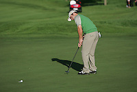 Straffin Co Kildare Ireland. K Club Ruder Cup...European Ryder Cup member Paul Casey from sinks the putt on the 4th green during the opening fourball session of the first day of the 2006 Ryder Cup, at the K Club in Straffan, Co Kildare, in the Republic of Ireland, 22 September 2006..Photo: Fran Caffrey/ Newsfile..