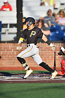 Bristol Pirates Francisco Acuna (10) swings at a pitch during game two of the Appalachian League, West Division Playoffs against the Johnson City Cardinals at TVA Credit Union Ballpark on August 31, 2019 in Johnson City, Tennessee. The Cardinals defeated the Pirates 7-4 to even the series at 1-1. (Tony Farlow/Four Seam Images)
