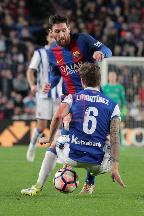 League Santander 2016/2017. Game: 32.<br /> FC Barcelona vs Real Sociedad: 3-2.<br /> Lionel Messi vs I&ntilde;igo Martinez.