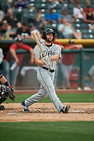 Shane Peterson (18) of the El Paso Chihuahuas bats against the Salt Lake Bees at Smith's Ballpark on July 5, 2018 in Salt Lake City, Utah. El Paso defeated Salt Lake 3-2. (Stephen Smith/Four Seam Images)