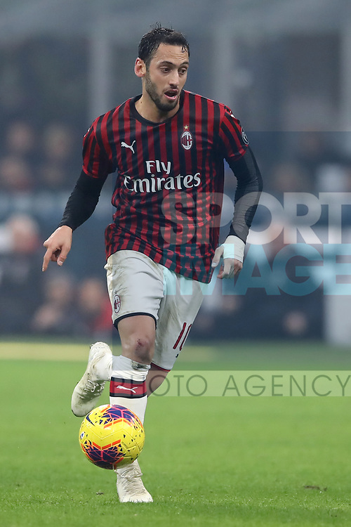 Hakan Calhanoglu of AC Milan during the Serie A match at Giuseppe Meazza, Milan. Picture date: 9th February 2020. Picture credit should read: Jonathan Moscrop/Sportimage