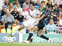 Real Madrid's Alvaro Arbeloa against Manchester City's Ga&euml;l Clichy during Champions League match. September 18, 2012. (ALTERPHOTOS/Alvaro Hernandez). /NortePhoto.com<br /> <br /> **CREDITO*OBLIGATORIO** *No*Venta*A*Terceros*<br /> *No*Sale*So*third* ***No*Se*Permite*Hacer Archivo***No*Sale*So*third<br /> <br /> <br /> **CREDITO*OBLIGATORIO** *No*Venta*A*Terceros*<br /> *No*Sale*So*third* ***No*Se*Permite*Hacer Archivo***No*Sale*So*third