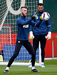 David De Gea of Manchester United warms up with Sergio Romero during the Manchester United open training session at the Carrington Training Centre, Manchester. Picture date: May 19th 2017. <br /> Pic credit should read: Matt McNulty/Sportimage