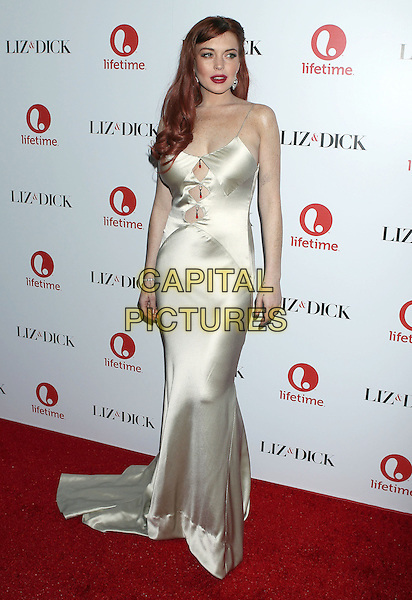 Lindsay Lohan.'Liz & Dick' - Los Angeles Premiere at Beverly Hills Hotel, Beverly Hills, California, USA..November 20th, 2012.full length dress cut out away dyed red hair  silk satin white cream  .CAP/ADM/RE.©Russ Elliot/AdMedia/Capital Pictures.