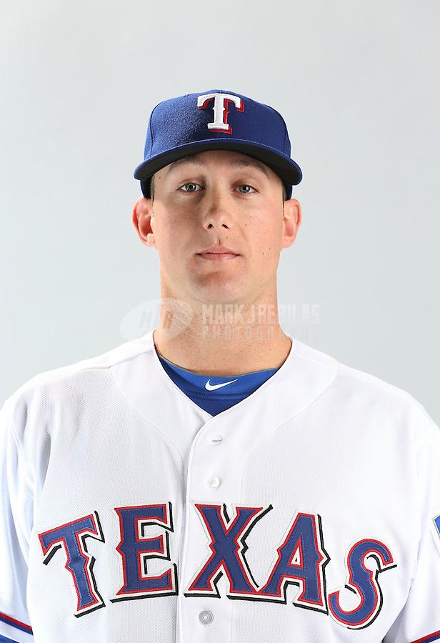 Feb. 20, 2013; Surprise, AZ, USA: Texas Rangers pitcher Jeff Beliveau poses for a portrait during photo day at Surprise Stadium. Mandatory Credit: Mark J. Rebilas-