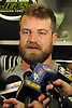 Ryan Fitzpatrick #14 New York Jets quarterback speaks to the media in the locker room after team practice at the Atlantic Health Jets Training Jets Training Center in Florham Park, NJ on Wednesday, Dec. 30, 2015.