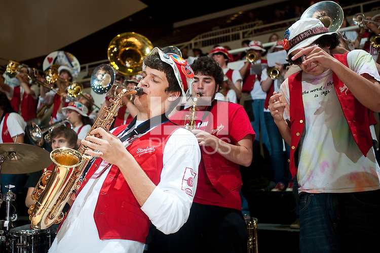 STANFORD, CA - JANUARY 6: The Stanford Band leads the charge against the University of Arizona at Maples Pavilion, January 6, 2011 in Stanford, California.