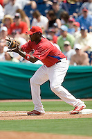 Howard, Ryan 8086.jpg. Minnesota Twins at Philadelphia Phillies. Spring Training Game. Saturday March 21st, 2009 in Clearwater, Florida. Photo by Andrew Woolley.