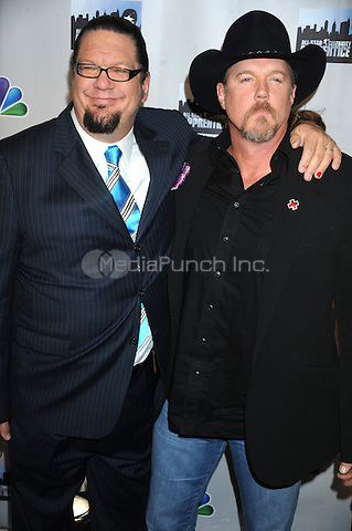 Penn Jillette and Trace Adkins at the press conference introducing the All-Star Celebrity Apprentice Season 13 cast. Jack Studios in New York City. October 12, 2012.. Credit: Dennis Van Tine/MediaPunch