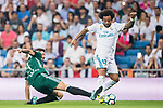Marcelo Vieira Da Silva of Real Madrid (R) fights for the ball with Francisco Javier Garcia Fernandez, Javi Garcia, of Real Betis (L) during the La Liga 2017-18 match between Real Madrid and Real Betis at Estadio Santiago Bernabeu on 20 September 2017 in Madrid, Spain. Photo by Diego Gonzalez / Power Sport Images