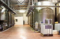 Stainless steel fermentation tanks. Hercegovina Produkt winery, Citluk, near Mostar. Federation Bosne i Hercegovine. Bosnia Herzegovina, Europe.