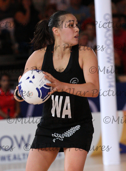 Liana Leota of Team New Zealand against Team England in the Netball Semi Final for the 20th Commonwealth Games, Glasgow 2014 at the Scottish Exhibition and Conference Centre, Glasgow on 2.8.14.