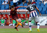 Calcio, Serie A: Roma vs Udinese. Roma, stadio Olimpico, 20 agosto 2016.<br /> Roma&rsquo;s Stephan El Shaarawy, left, is challenged by Udinese&rsquo;s Danilo during the Italian Serie A football match between Roma and Udinese at Rome's Olympic Stadium, 20 August 2016. Roma won 4-0.<br /> UPDATE IMAGES PRESS/Riccardo De Luca