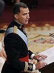 Coronation ceremony in Madrid. King Felipe VI of Spain at Congreso de los Diputados. June 19 ,2014. (ALTERPHOTOS/EFE/Pool)
