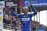 Philippe Gilbert (BEL) Deceuninck-Quick Step wins the 117th edition of Paris-Roubaix 2019, running 257km from Compiegne to Roubaix, France. 14th April 2019<br /> Picture: ASO/Pauline Ballet | Cyclefile<br /> All photos usage must carry mandatory copyright credit (&copy; Cyclefile | ASO/Pauline Ballet)