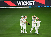 25th March 2018, Auckland, New Zealand;  Trent Boult celebrates with team mates after taking a catch to dismiss Stoneman. New Zealand versus England. 1st day-night test match. Eden Park, Auckland, New Zealand. Day 4