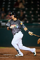 Daytona Tortugas shortstop Luis Gonzalez (7) follows through on a swing during a game against the Jupiter Hammerheads on April 13, 2018 at Jackie Robinson Ballpark in Daytona Beach, Florida.  Daytona defeated Jupiter 9-3.  (Mike Janes/Four Seam Images)