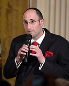 Rabbi Dr. Meir Y. Soloveichik makes remarks at a Chanukah reception hosted by United States President Donald J. Trump and first lady Melania Trump in the East Room of the White House in Washington, DC on Thursday, December 7, 2017.<br /> Credit: Ron Sachs / CNP