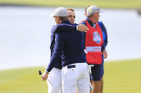 Justin Thomas and Jordan Spieth Team USA win their match 1up on the 18th green during Friday's Fourball Matches at the 2018 Ryder Cup, Le Golf National, Iles-de-France, France. 28/09/2018.<br /> Picture Eoin Clarke / Golffile.ie<br /> <br /> All photo usage must carry mandatory copyright credit (© Golffile | Eoin Clarke)